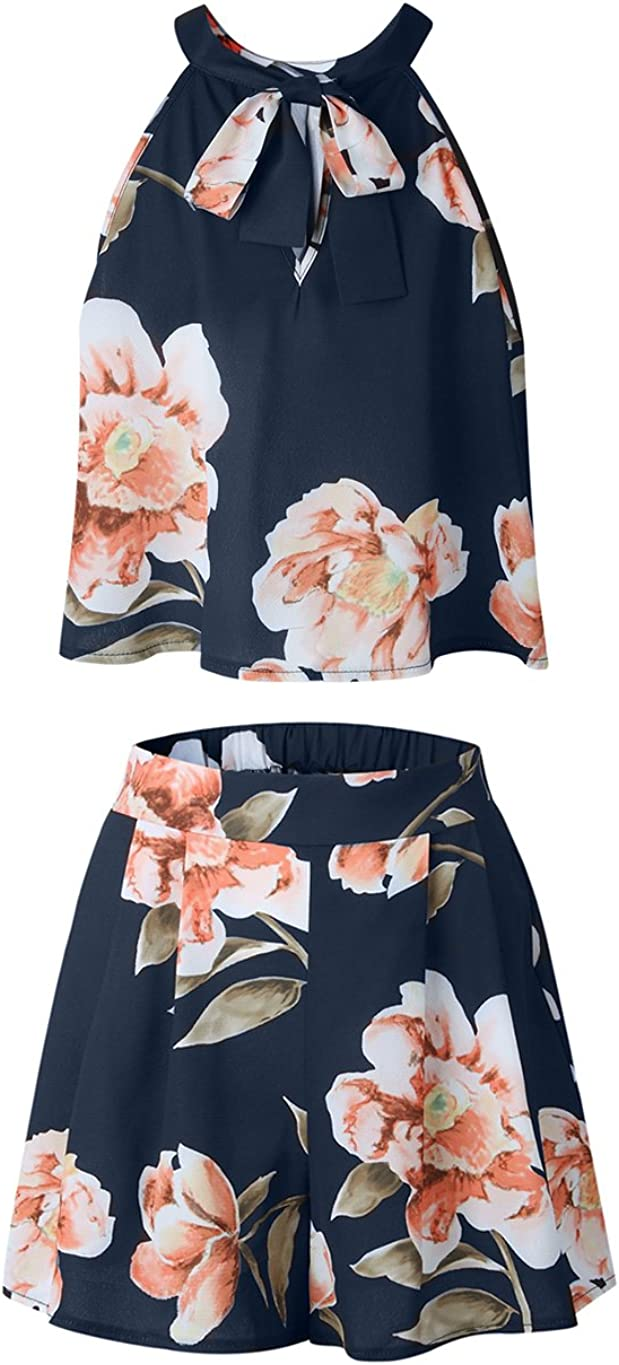 Womens Floral Printed Summer Dress Romper Boho Playsuit Jumpsuits Beach 2 Piece Outfits Top with Shorts