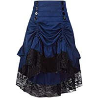 Sorrica Women's Steampunk Retro Gothic Vintage Ruffle High Low Gypsy Hippie Lace Party Skirt