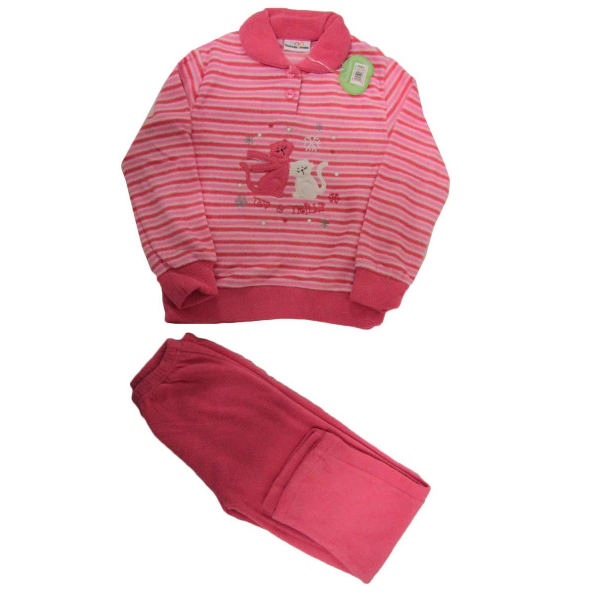 Russo Tessuti Pigiama Bimba Baby Bambina Buccia di Mela Pile Vari Colori Gattino -Blu-3/4 Anni