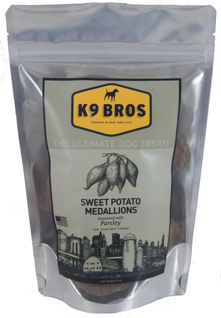 K9 Bros Sweet Potato Medallions Seasoned with Parsley - Natural Healthy Chews Cleans Teeth Freshens Breath Small Batch