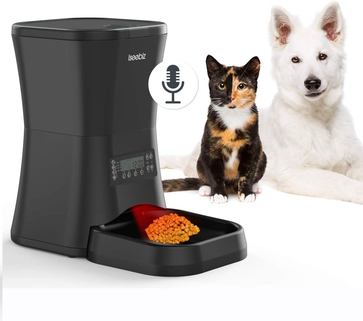 Iseebiz 7L Automatic Pet Feeder, Dogs Cats Food Dispenser 4 Meals a Day with Voice Record Remind, Timer Programmable, Portion Control, Distribution Alarm, IR Detect, for Medium and Large Dogs Cats Pet