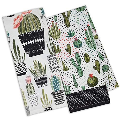 DII Urban Oasis Printed Dish Towels Kitchen Set of 2 Cactus 18 by 28