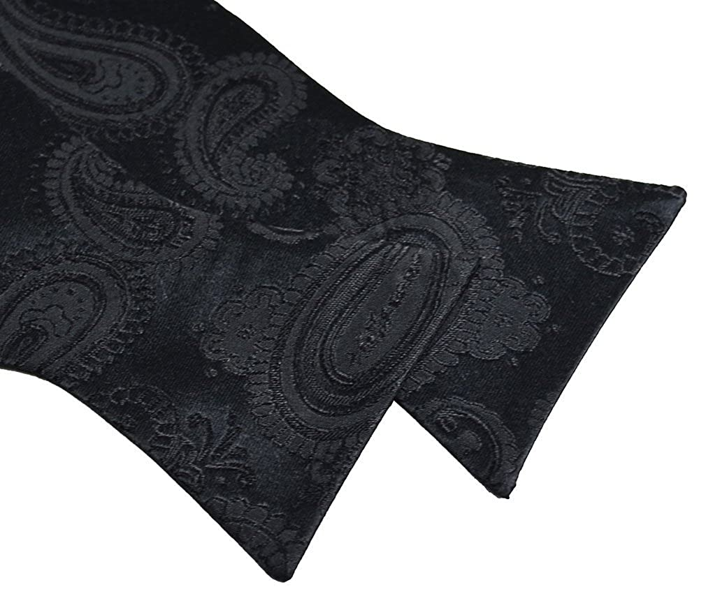 Paul Malone Silk Bow Tie Black Paisley