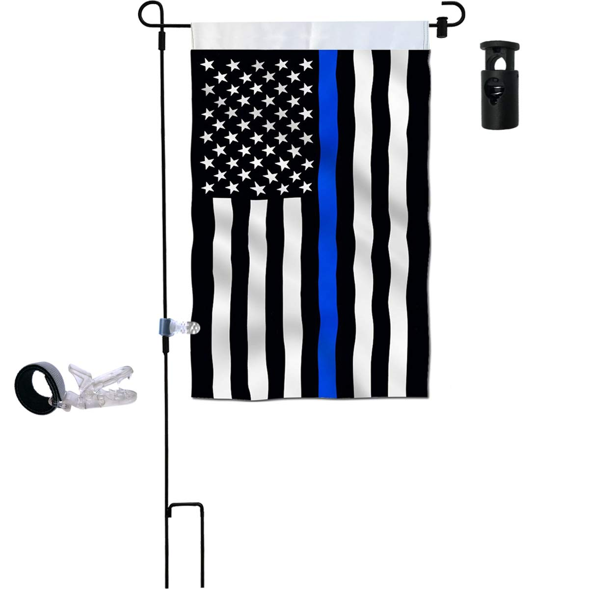 Garden Flag Stand Thin Blue Line Garden Flag Double Sided 12.5 x 18 Inch with Anti Wind Clip, Stopper Best for Garden Decoration Flags