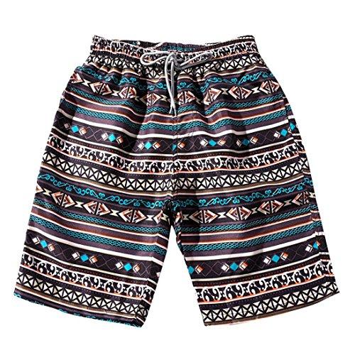 Hattfart Summer Couples Shorts,Boho Floral Print Casual Beach Plus Size Shorts Pants (M)