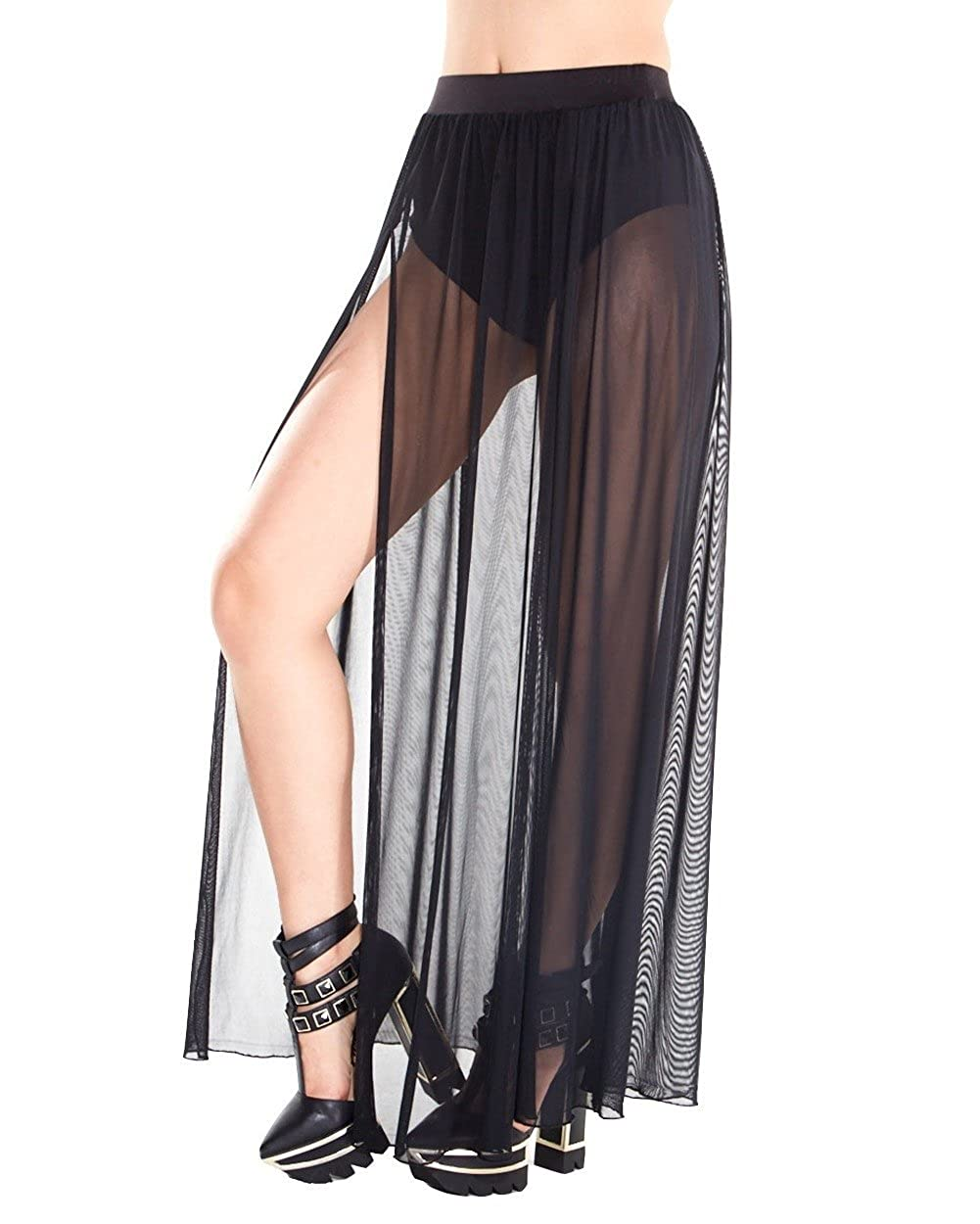 935c61375 Amazon.com: iHeartRaves Women's Stretchy Sheer Mesh and Lace Long Side Slit Maxi  Skirts: Clothing