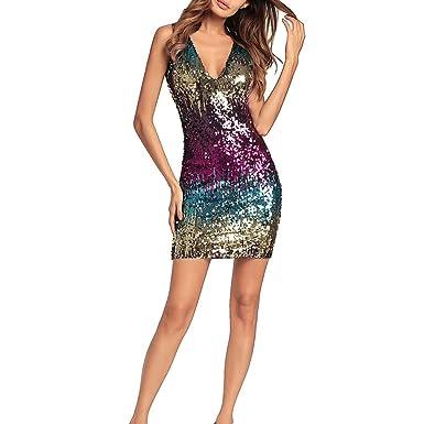Robe de Femme Robe pour Femme - Color Block Sequin Taille Haute Deep V sans  Manches 204dffc4bcdb