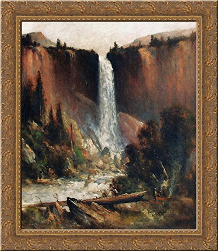 Angler's Camp Below Nevada Falls 24x20 Gold Ornate Wood Framed Canvas Art by Thomas Hill