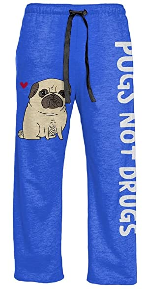 Gemma Correll Pugs Not Drugs Heather Blue Lounge Pants (Adult Large)