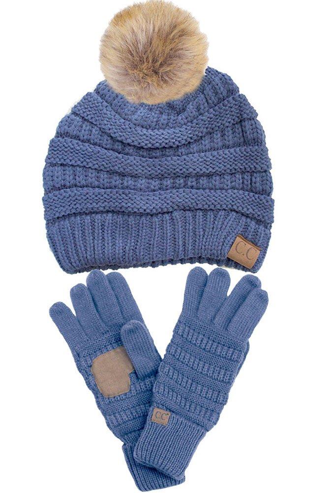 ScarvesMe C.C Trendy Warm Chunky Soft Stretch Cable Knit Pom Pom Beanie and Gloves SET (Denim)