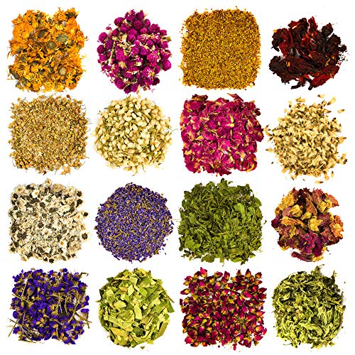 Dried Flowers and Herbs Accessories Decorations -16 Bags Set Dry Flowers Essential Supplies Rose Buds Lavender Chamomile…