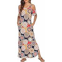 Sherosa Women's Cold Shoulder Side Split Casual Beach Maxi Dresses Short Sleeve Strapless Long Summer Dress with Pockets