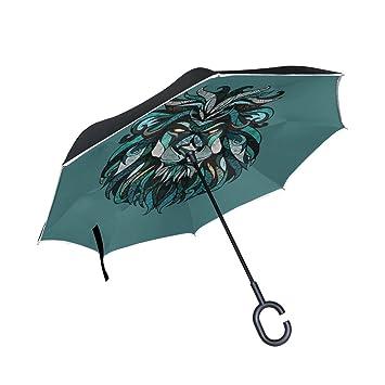 BENNIGIRY Paraguas Exterior de Color Negro con Cabeza de León de Animal, sombrilla UV anticaloro