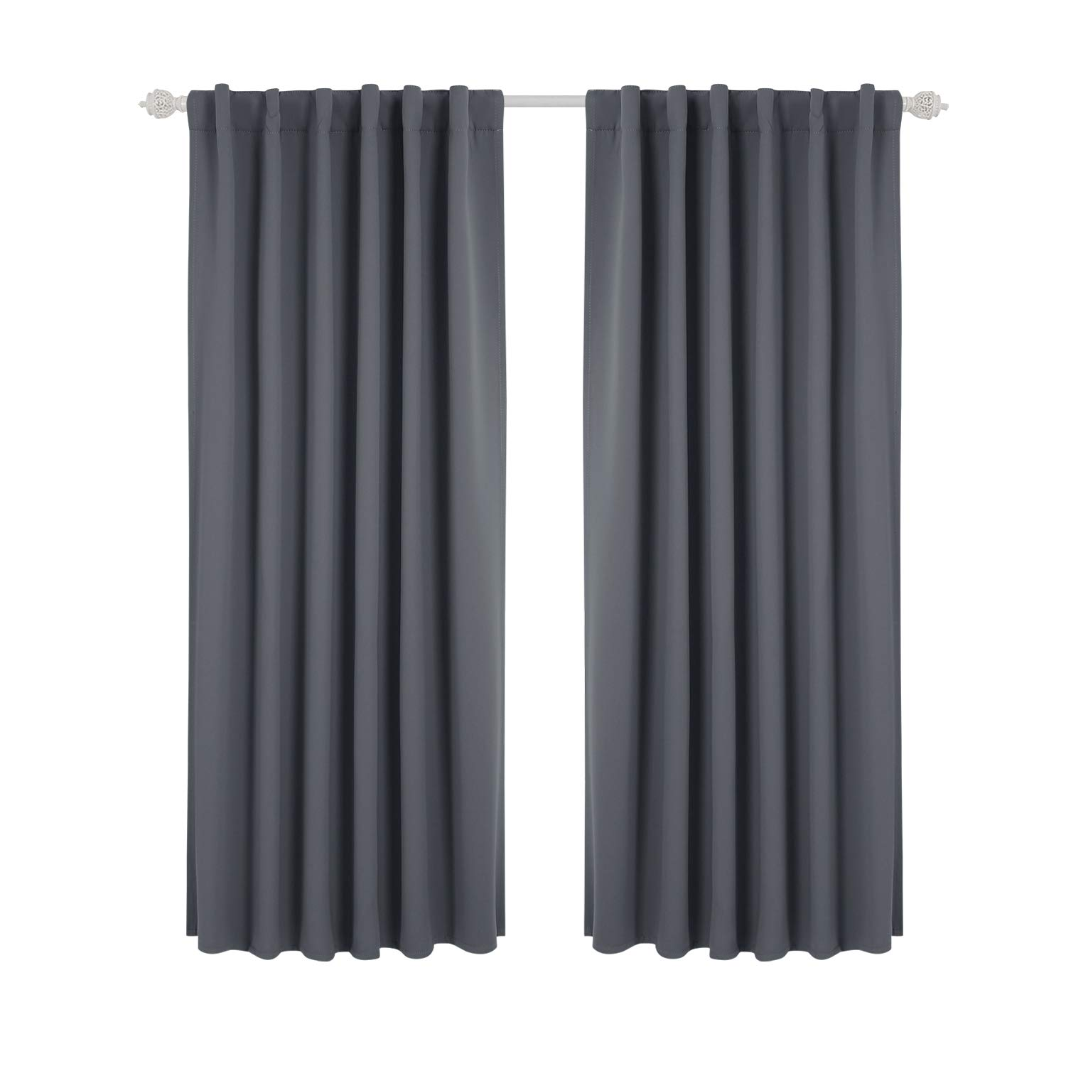 Deconovo Solid Back Tab and Rod Pocket Curtains Thermal Insulated Blackout Window Curtains for Kitchen 52x54 Inch Dark Grey 2 Panels