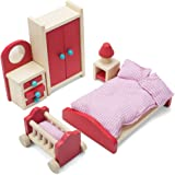 Imagination Generation- Wooden Wonders Cozy Family Master Bedroom Accessories Playset, Colorful Dollhouse Furniture for 4-inch Dolls