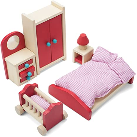 Cozy Family Master Bedroom Accessories Children\'s Playset | Wooden Wonders  Premium, Colorful Dollhouse Furniture for 4-inch Toy Dolls | Includes ...