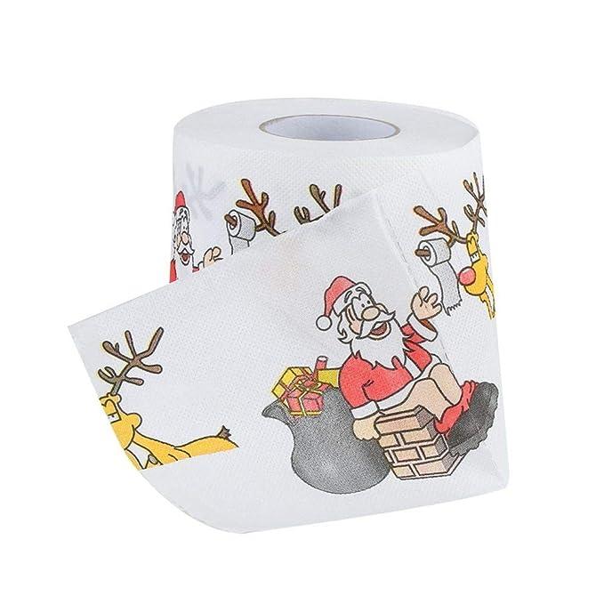 Fossrn Inicio Papá Noel Baño Papel higiénico Papel de navidad Suministros de Navidad Tejido decorativo: Amazon.es: Ropa y accesorios