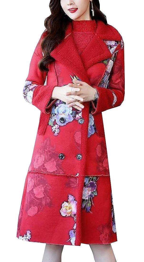 1 omniscient Women's LongSleeves Shearling Pea Jacke Faux Suede Winter Coats Leopard