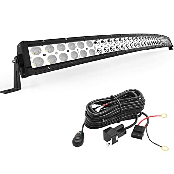 YITAMOTOR LED Light Bar 288W 50 inches Curved Light Bar Spot Flood on