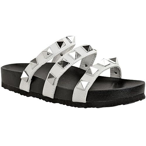 2e4726005cb52 Fashion Thirsty Sandales Plates à Lanières - Style Punk Grunge -  Été Décorées - pour Femme  Amazon.fr  Chaussures et Sacs