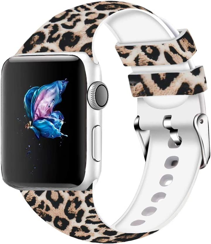 Compatible with Watch Band 38mm 40mm, Soft Silicone Replacment Sport Bands Strap Wristband Compatible with iWatch Series 3 Series 2 Series 1 (Leopard, 38/40mm)
