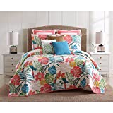 3 Piece Vibrant Green Pink Orange Coastal King Size Quilt Set, Nautical Beach Theme Bedding Tropical Bedding Floral Flowers Lake House Cottage Sleek Trendy Beachy, Cotton