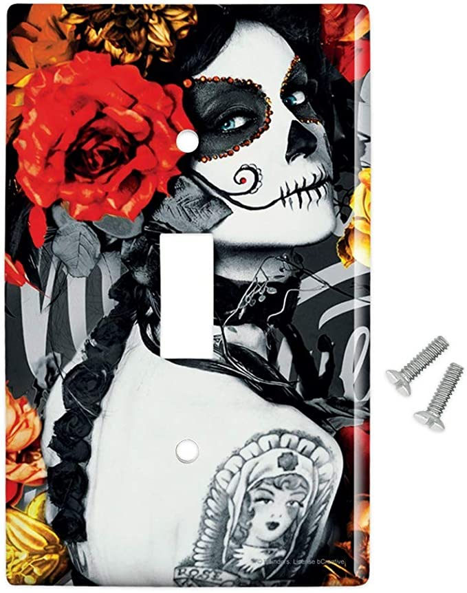 Graphics More Dia De Los Muertos Day Of The Dead Woman Tattoo Plastic Wall Decor Toggle Light Switch Plate Cover Furniture Decor Amazon Com