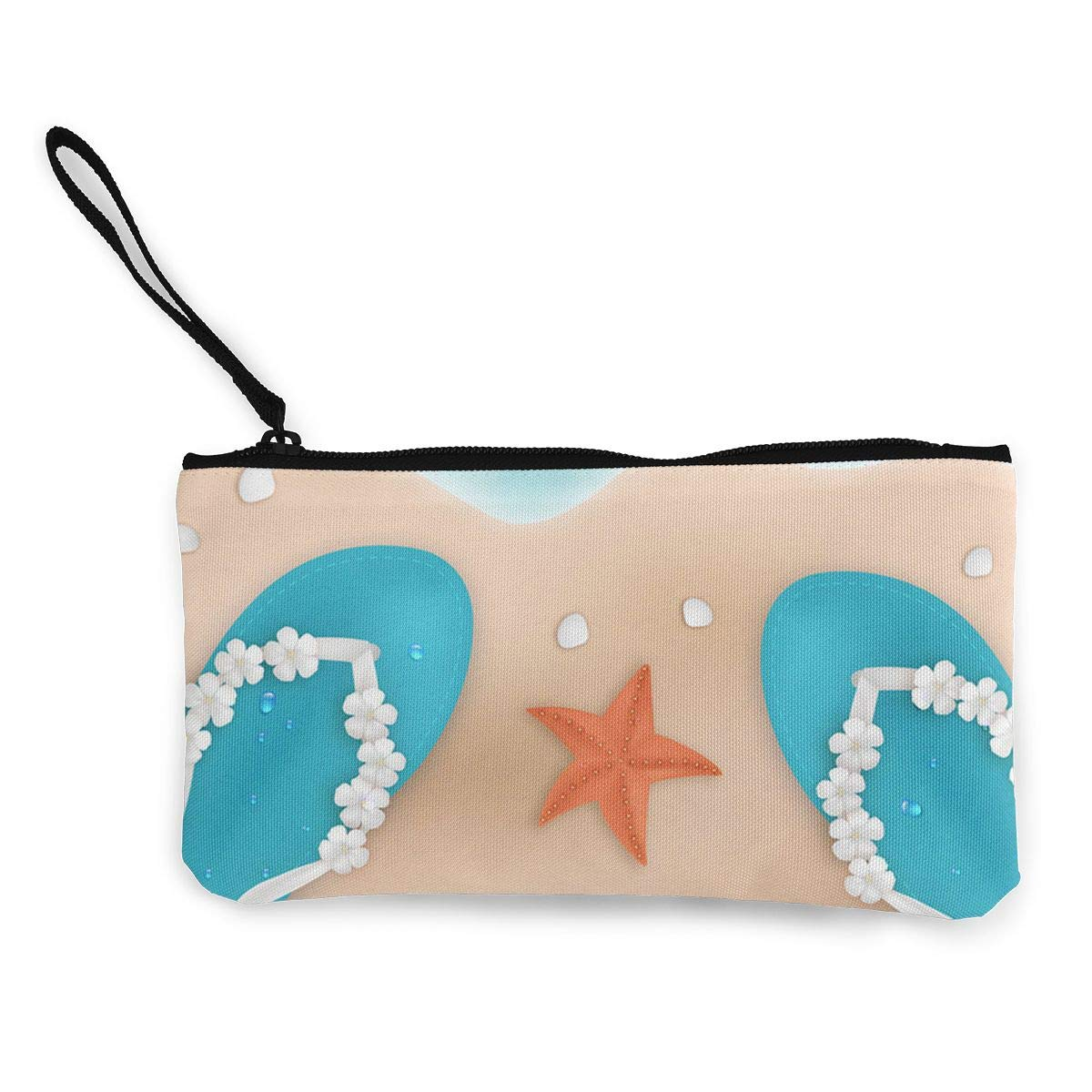 DH14hjsdDEE The Summer On The Beach Zipper Canvas Coin Purse Wallet Make Up Bag Cellphone Bag With Handle