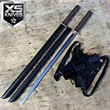 2PC BLACK Twin Ninja Fighting Swords Full Tang W/Dual Shoulder Straps Carbon Steel Sharp Fixed Blade Knife + Free eBook by SURVIVAL STEEL