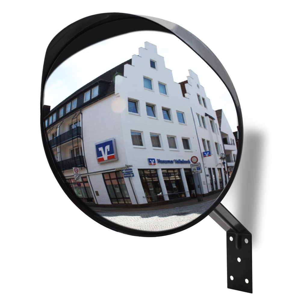 Convex Mirror, MIHOMECO Safety Traffic Mirror, Outdoor/Indoor use, Universal with Cap Convex Security Mirror,Include Mounting Bracket 12''