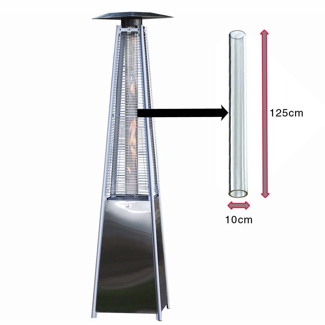 Glass Tube Replacement For Pyramid Gas Patio Heater