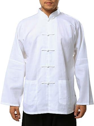 Bitablue Camisa China de Mezcla de algodón y Lino Blanco para Hombre
