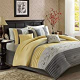 Madison Park Serene King Size Bed Comforter Set Bed in A Bag - Yellow, Embroidered – 7 Pieces Bedding Sets – Faux Silk Bedroom Comforters
