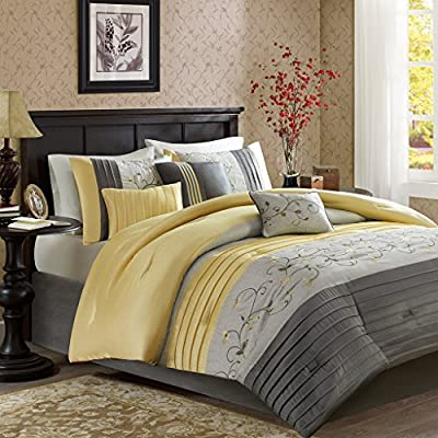 "Madison Park Serene King Size Bed Comforter Set Bed in A Bag - Yellow, Embroidered - 7 Pieces Bedding Sets - Faux Silk Bedroom Comforters - Floral embroidery 15"" Drop bedskirt Embroidered pillows - comforter-sets, bedroom-sheets-comforters, bedroom - 61ScCM ft L. SS400  -"