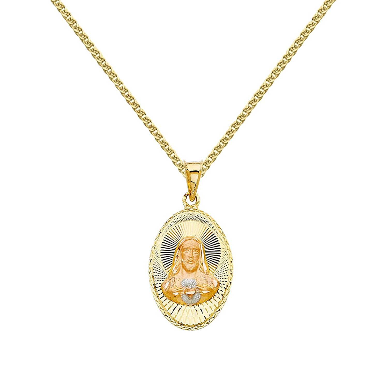 14k Tri-tone Gold Diamond-cut Sacred Heart Jesus Pendant with 1.5-mm Flat Wheat Chain