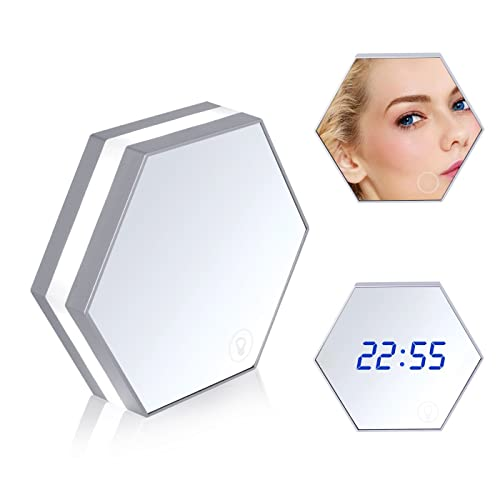 Digital Mirror Alarm Clock, BEQOOL 5-in-1 Digital LED Smart Clock Travel Alarm Clock/ Mirror Table Clock Night Light with Touch Dimming Function Thermometer Mirror | Time / 3 Alarm Times / Temperature Display Via USB Rechargeable Charging (Silver)