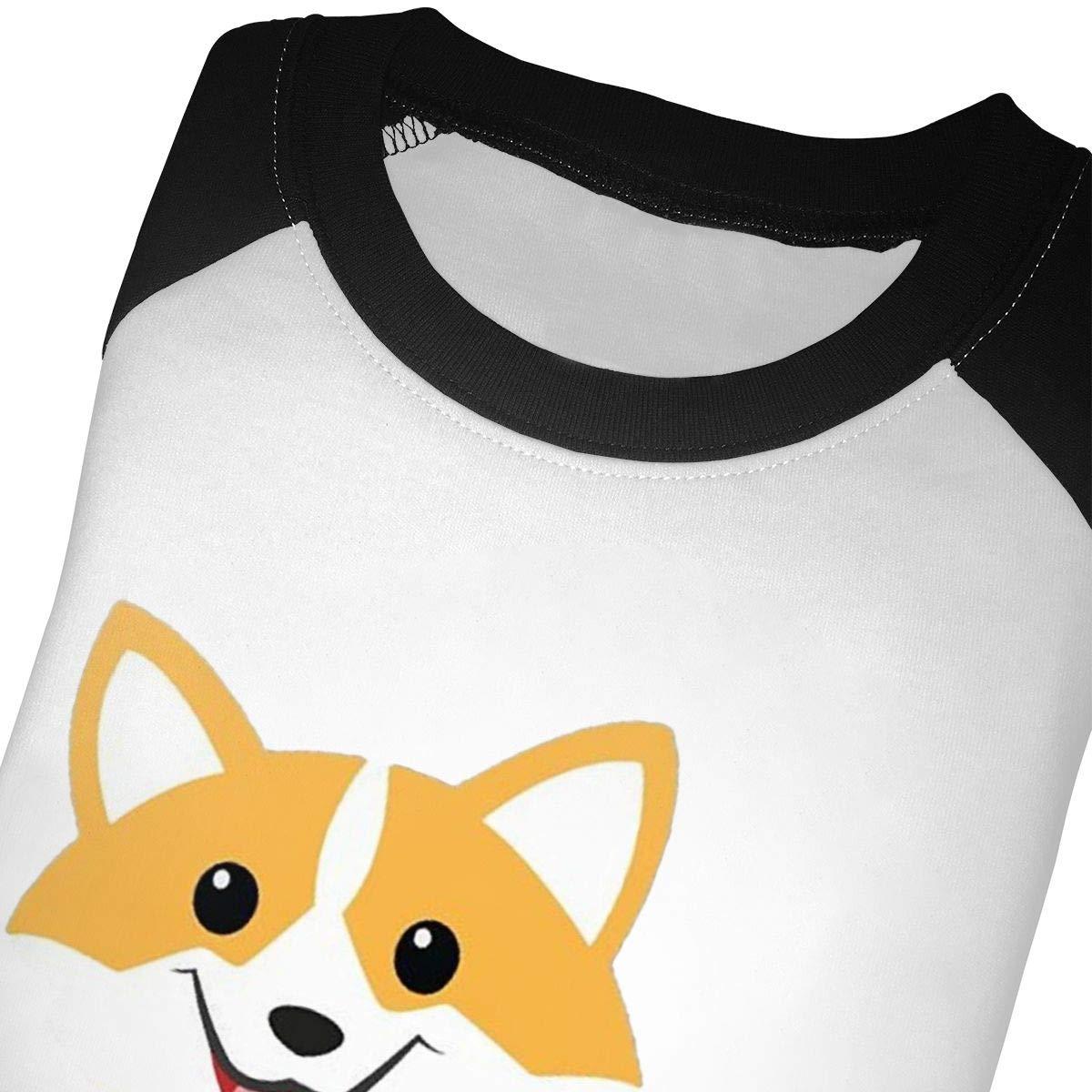 Corgi Dog Coffee Paw Teacups Unisex Toddler Baseball Jersey Contrast 3//4 Sleeves Tee