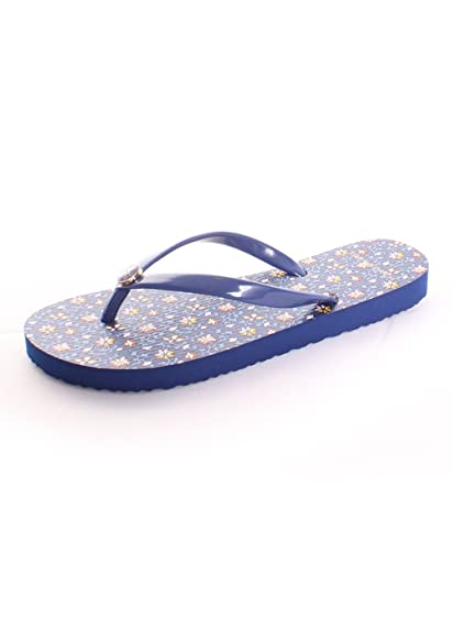 9fa0bc339729 Tory Burch Printed Thin Flip Flop 5 Fresh Blueberry Wild Pansy