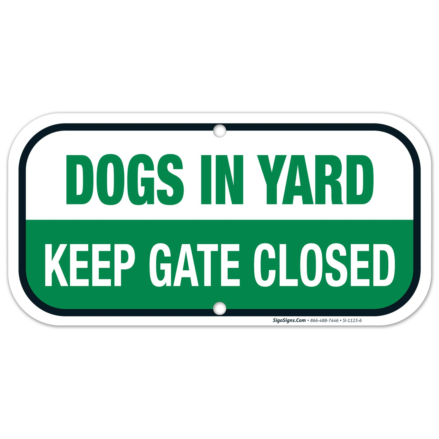Keep Gate Closed Sign Dogs in Yard, 6x12 Rust Free Aluminum,Weather/Fade Resistant, Easy Mounting, Indoor/Outdoor Use, Made in USA by SIGO SIGNS