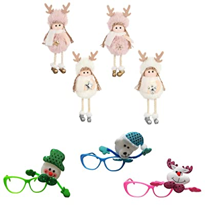 NSZMDFJ Christmas Plush Toy Lovely Doll (4-Count) Glasses (3-Count) Comfortable Plush Child Gift Christmas Decoration,Combination: Sports & Outdoors