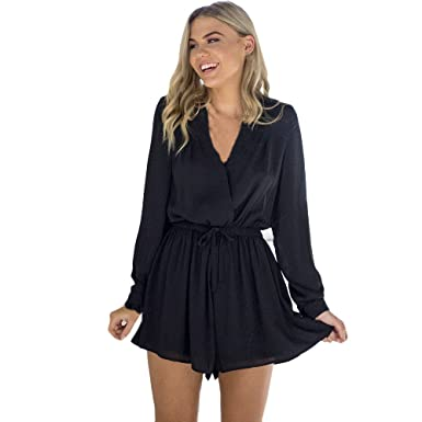 1f2369d9beb0 Amazon.com  Caopixx Summer Romper for Women Casual Ruched Front Long Sleeve  V-Neck Short Jumpsuit  Clothing