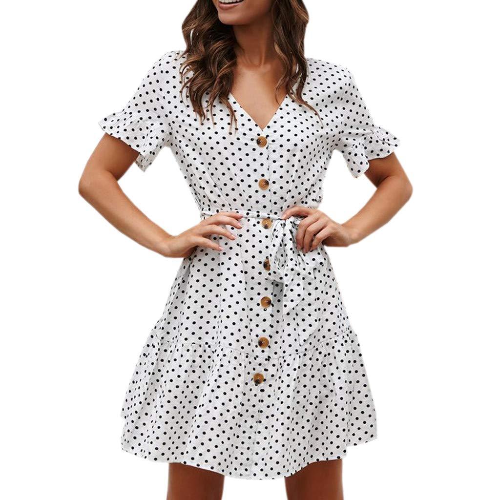 Beikoard Damen Punkt gedruckt A-Linien-Kleid Kurzarm Sommerkleid Verband Button Freizeit Strandkleid