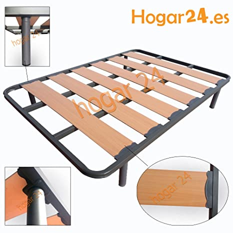 HOGAR24.es-Somier Somieres Lama Ancha Reforzada con Tacos Anti-Ruido y Patas