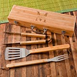 A Gift Personalized Monogrammed Grilling BBQ Set with Bamboo Case - Personalized Grilling Tool Set