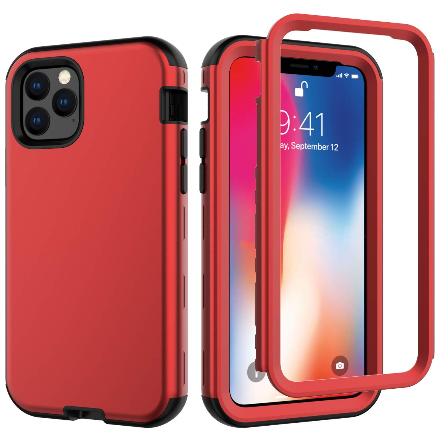 iPhone 11 Pro 2019 5.8 Case, Ranyi Rugged Full Body Protection 3 in 1 Hybrid Bumper Shock Absorbing High Impact Heavy Duty Resilient TPU Rubber Case for Apple 2019 5.8 Inch iPhone 11 Pro (red) by Ranyi