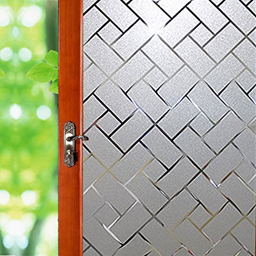 No Glue Window Film Privacy, Frosted Window Decal/Privacy Protection/Heat Control/Anti UV, Latticed Frosting Stained Glass Static Cling for Home/Office, 17.7x78.7 inch by Wayber