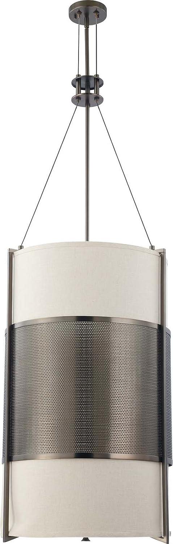 Nuvo Lighting 60 4032 Six Light Diesel Vertical Pendant With Khaki Fabric Shade Cream Diffuser Hazel Bronze