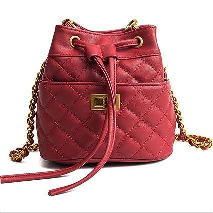 Amazon.com  LANGUANGLIN Chain Mini Bucket Bag Female Models Wild Single  Shoulder Diagonal Bag bed94f03c0773