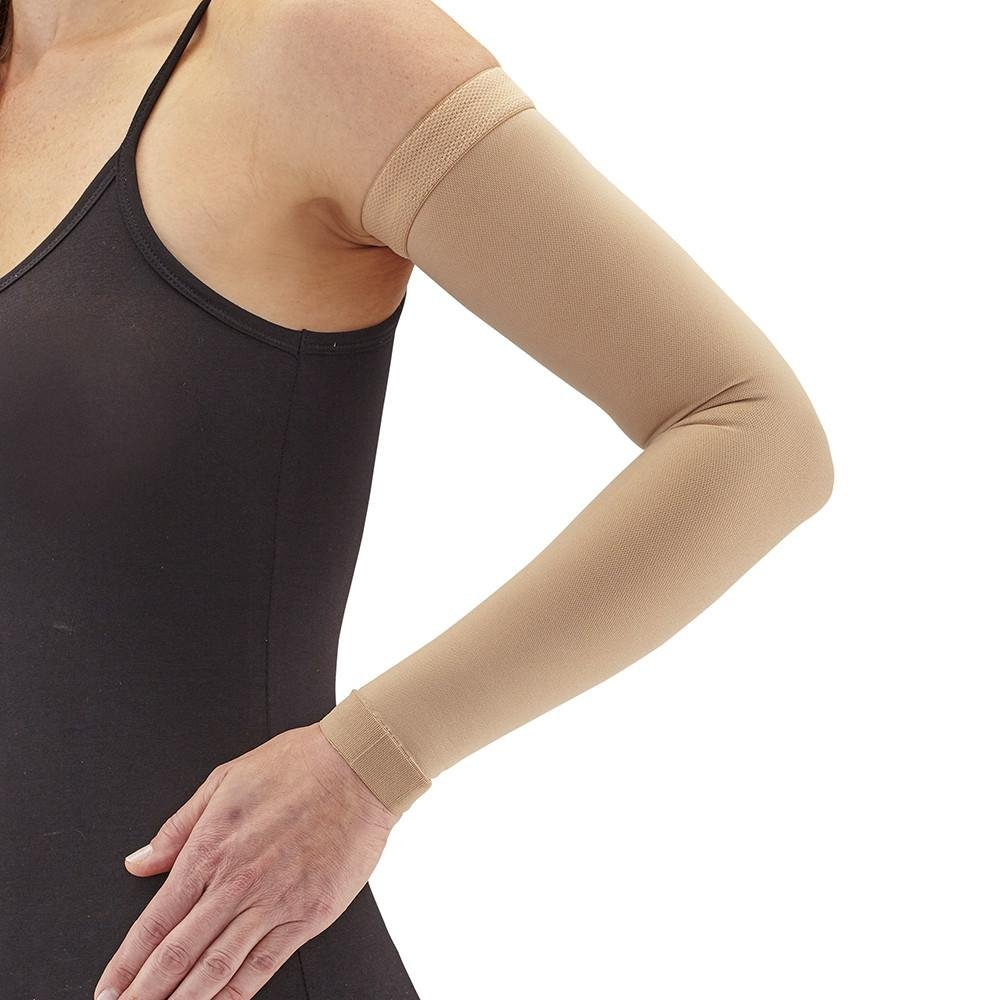 Ames Walker AW Style 7061 Lymphedema Armsleeve w Silicone Band - 20-30 mmHg Firm Compression, Sand Large - Manage edema swelling post mastectomy conditions - comfortable fabric