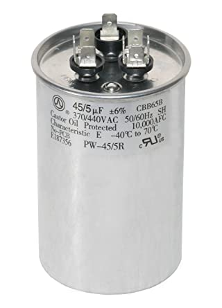 PowerWell 45+5 MFD 45/5 uf 370 or 440 Volt Dual Run Round Capacitor  PW-45/5/R for Condenser Straight Cool or Heat Pump Air Conditioner -  Guaranteed to